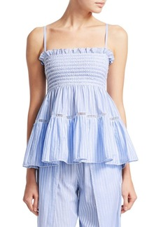 Jonathan Simkhai Stripe Cotton Peplum Tank Top