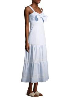 Jonathan Simkhai Stripe Cotton Tiered Maxi Dress