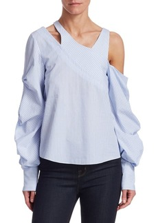 Jonathan Simkhai Striped Poplin Gathered-Sleeve Blouse