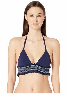 Jonathan Simkhai Striped Smocked Halter Bikini