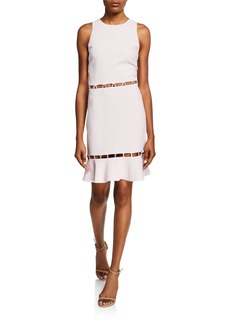 Jonathan Simkhai Studded Sleeveless Flounce Cocktail Dress w/ Cutouts
