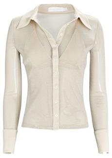 Jonathan Simkhai Tia Tulle Button-Down Shirt