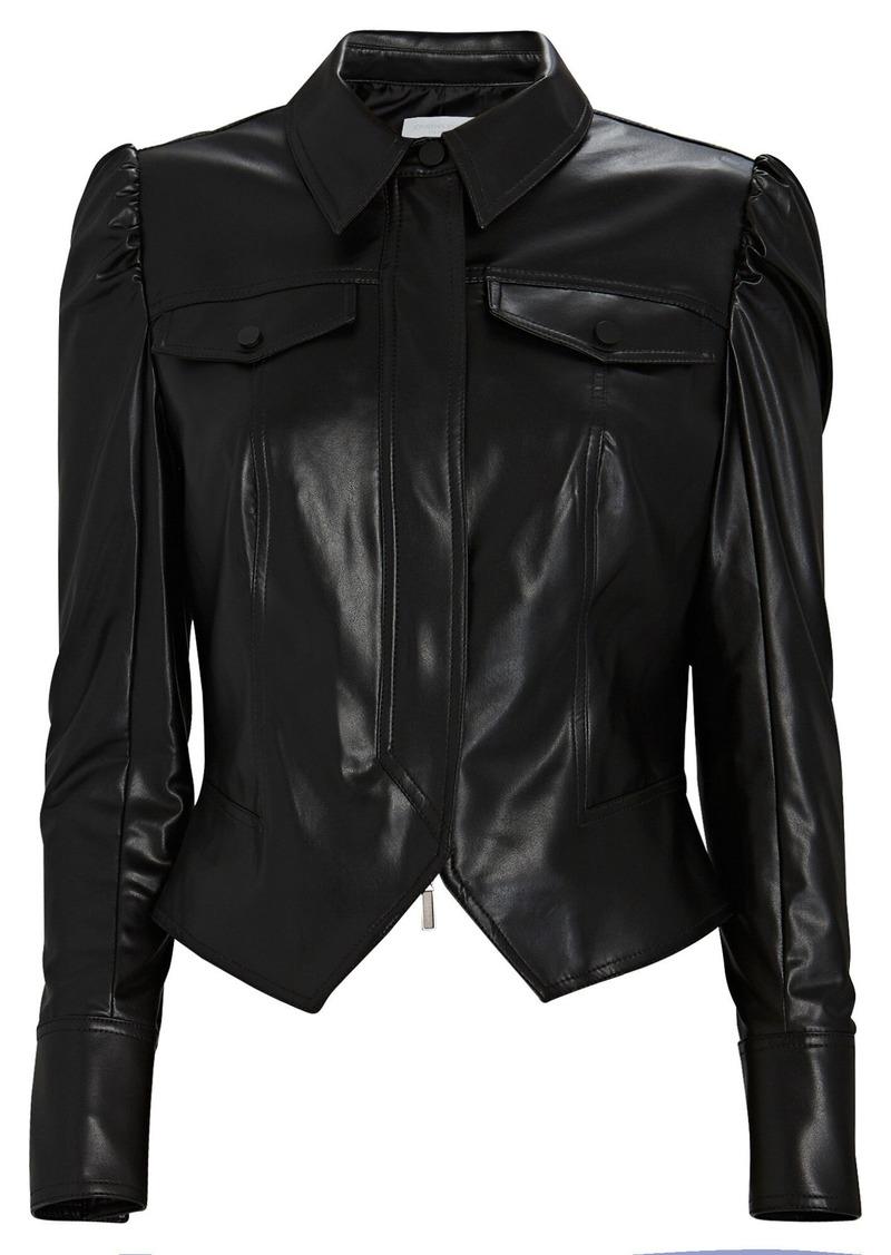 Vegan Leather Puff Sleeve Jacket