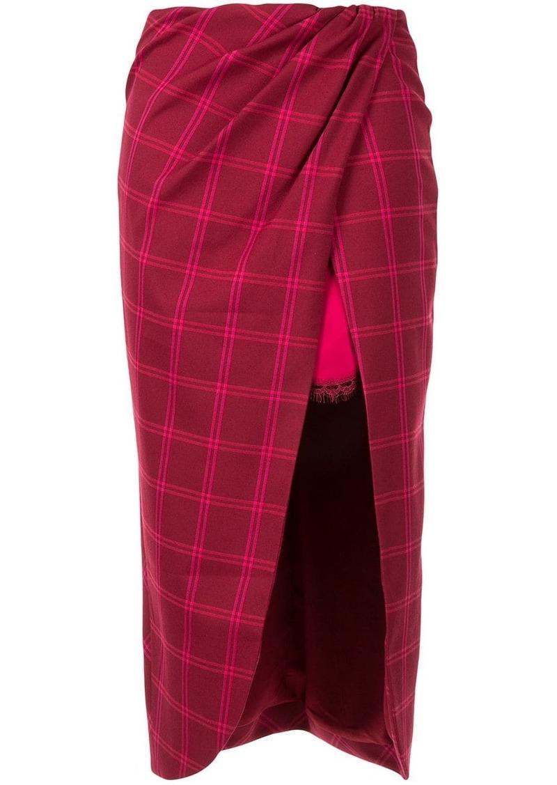 Jonathan Simkhai windowpane front slit skirt