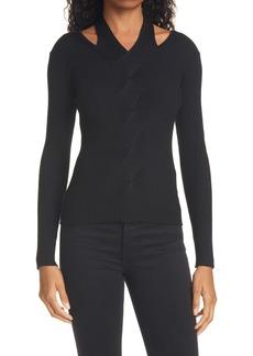 Women's Jonathan Simkhai Leah Ribbed Cutout Detail Merino Wool Blend Sweater