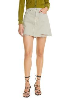 Women's Jonathan Simkhai Standard Linnea Distressed Nonstretch Organic Cotton Denim Miniskirt