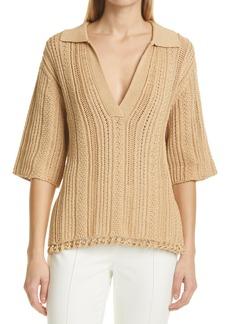 Women's Jonathan Simkhai Zia Chunky Cotton Polo Sweater