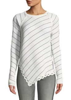 Jonathan Simkhai Zigzag-Trim Striped Long-Sleeve Asymmetrical Top