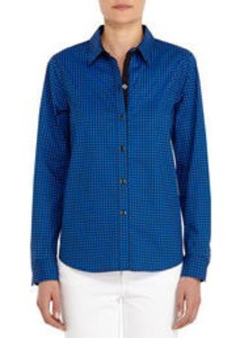 Jones New York Black and Blue Stretch Cotton Long-sleeve Shirt (Petite)