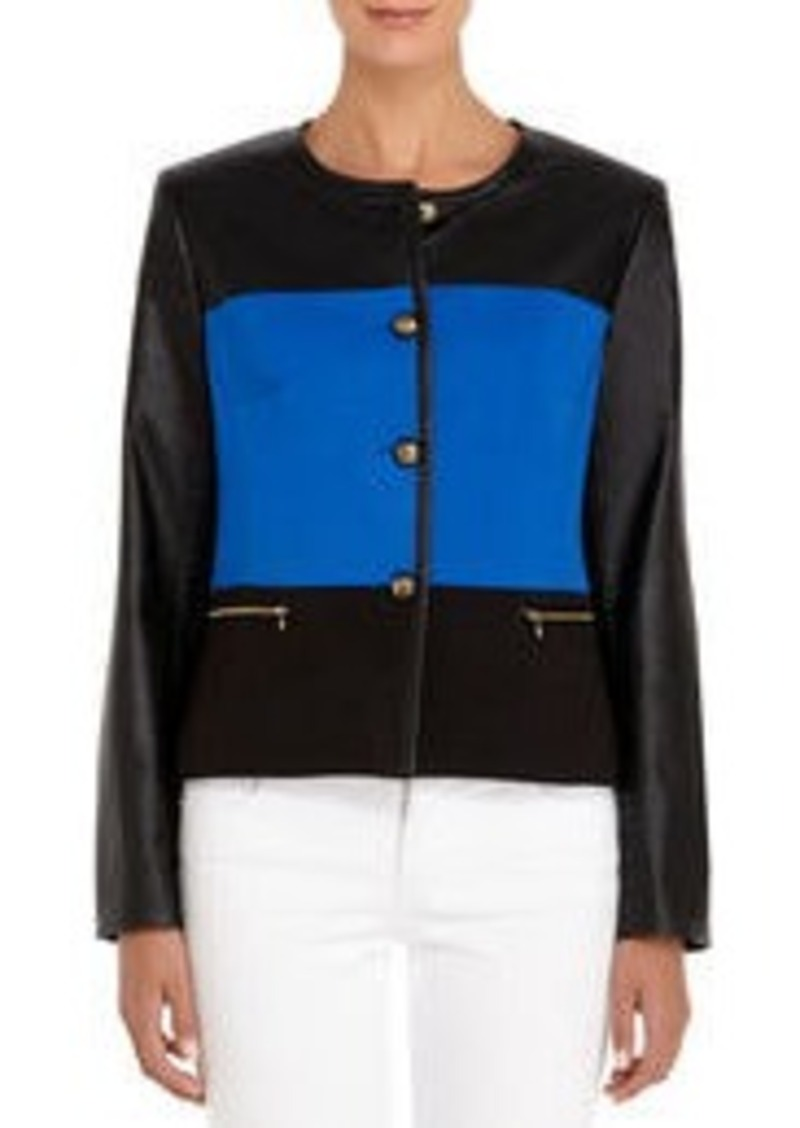 Jones New York Black and Cobalt Blue Color Block Jacket (Petite)