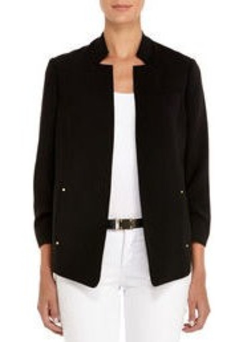 Jones New York Black Safari Jacket with Ruched Sleeves