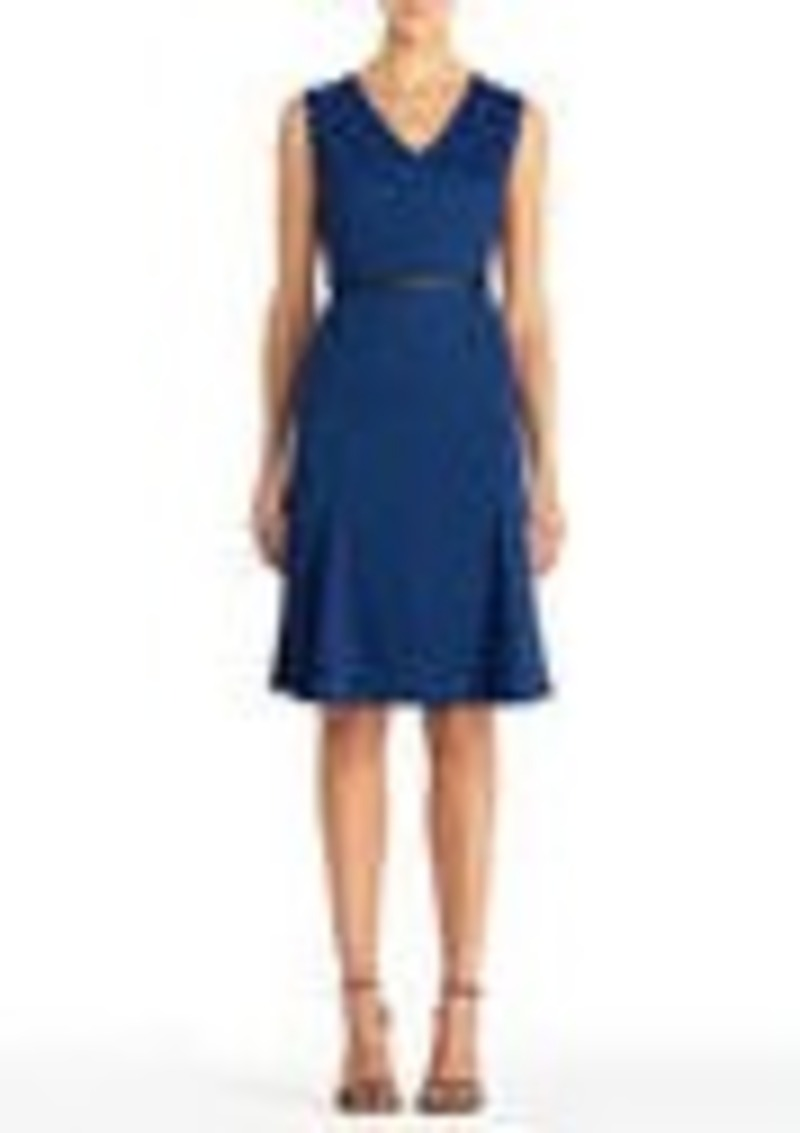 Jones New York Blue Sleeveless V-Neck Dress with Belt