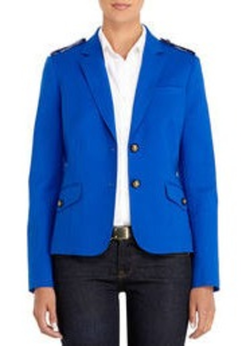 Jones New York Blue Two-Button Blazer with Epaulets
