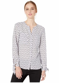 Jones New York Button Front Blouse with Tie Sleeves
