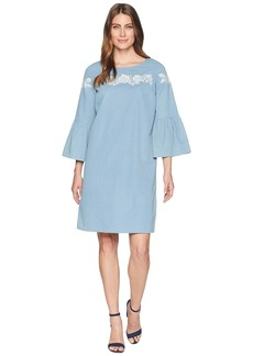 Jones New York Chambray Bell Sleeve Dress w/ Embroidery