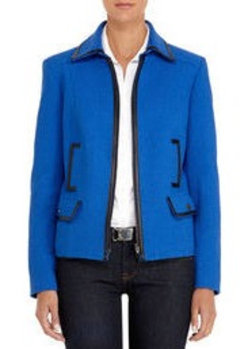 Jones New York Cobalt Blue Jacket with Black Faux Leather Trim