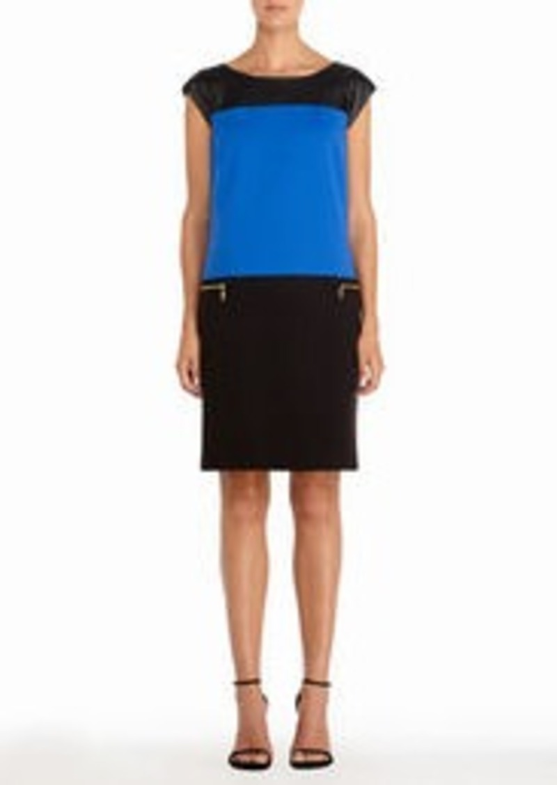 Jones New York Color Block Dress in Black and Cobalt Blue (Petite)