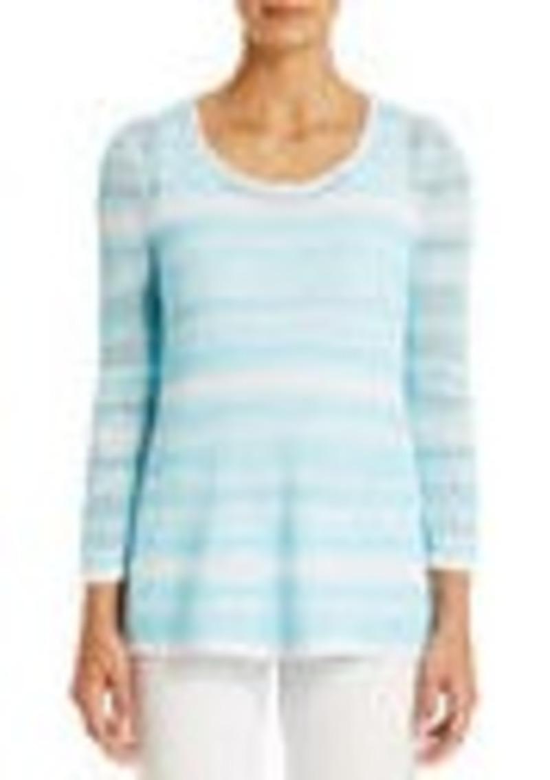 Jones New York Cotton Scoop Neck Sweater with Draped Hem