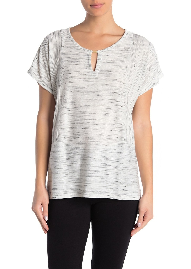 Jones New York Crew Neck Dolman Sleeve Heathered Top