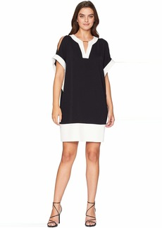Jones New York Elbow Dolman Sleeve V-Neck Bar Trim Color Block Dress