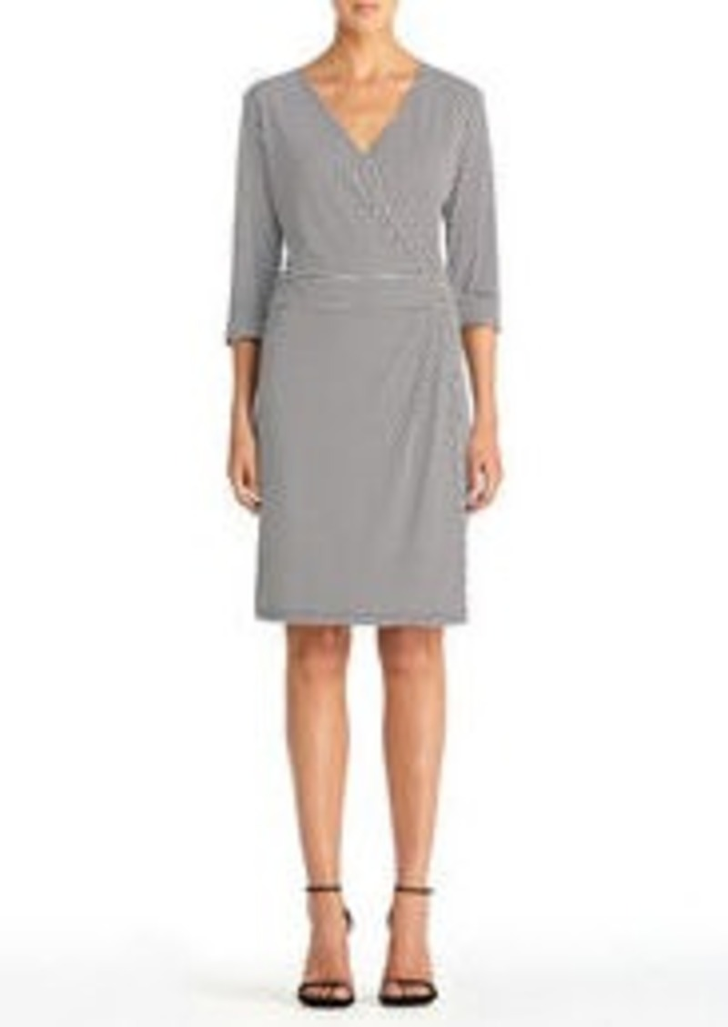 Jones New York Faux Wrap Dress with Elbow Cuffs