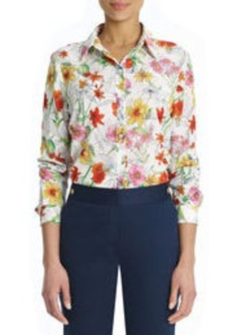 Jones New York Floral Button Down Shirt (Petite)