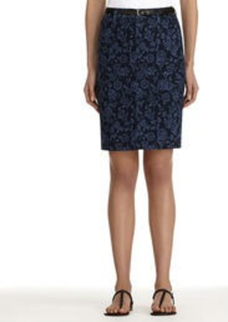 Jones New York Floral Stretch Cotton Denim Pencil Skirt