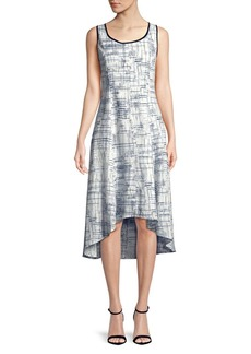 JONES NEW YORK Abstract-Geo Sleeveless Sharkbite Dress