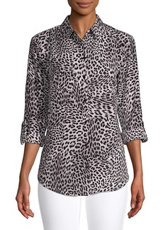 JONES NEW YORK Animal-Dot Roll-Sleeve Blouse