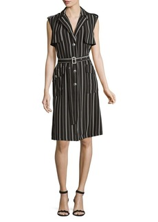 JONES NEW YORK Belted Pinstripe Flap Dress
