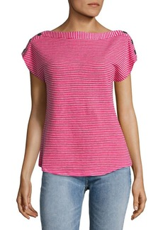 JONES NEW YORK Boatneck Snap-Shoulder Top