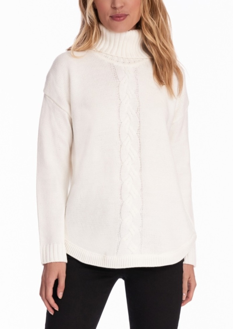Jones New York Cable-Knit Round-Hem Turtleneck Sweater