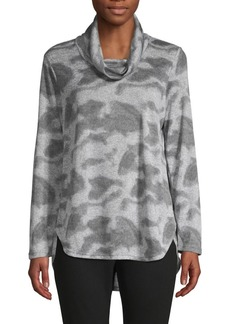 JONES NEW YORK Camo Printed Cowlneck Top