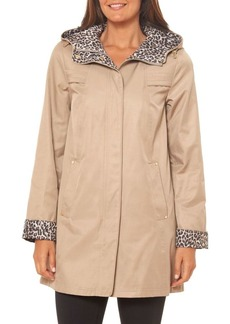 Jones New York Collection Contrast Leopard-Print Cotton-Blend Hooded Jacket