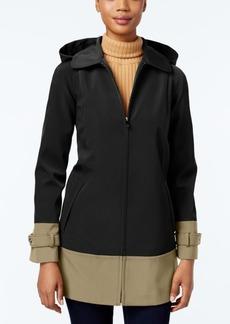Jones New York Colorblocked Hooded Water-Resistant Raincoat