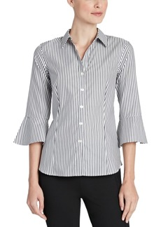Jones New York Cotton Striped Bell-Sleeve Blouse