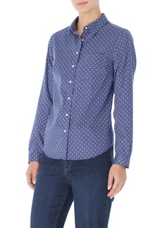 Jones New York Dot Button-Up Cotton Shirt