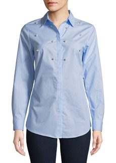 JONES NEW YORK Embellished Button-Front Top
