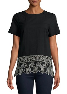 JONES NEW YORK Embroidered Hem Top