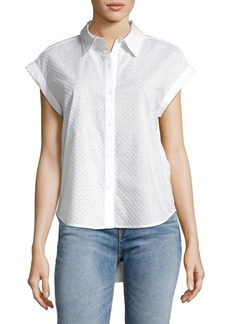 JONES NEW YORK Eyelet Hi-Lo Button-Down Shirt
