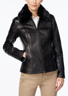 Jones New York Faux-Fur-Collar Leather Jacket