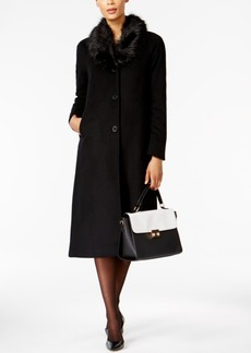 Jones New York Single-Breasted Wool-Blend Coat with Faux Fur Collar
