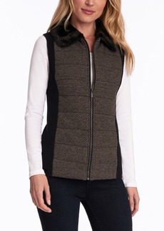 Jones New York Faux-Fur-Collar Quilted Vest