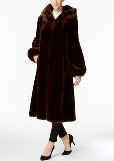 Jones New York Faux-Fur Hooded Maxi Coat