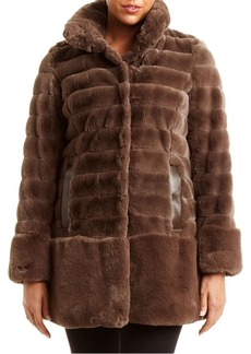 JONES NEW YORK Faux-Fur Quilted Coat