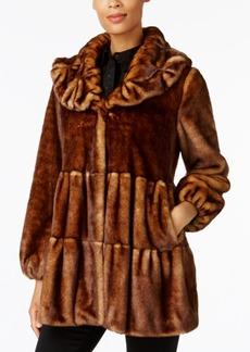 Jones New York Faux-Fur Tiered Babydoll Coat