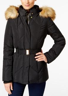 Jones New York Faux-Fur-Trim Belted Down Coat