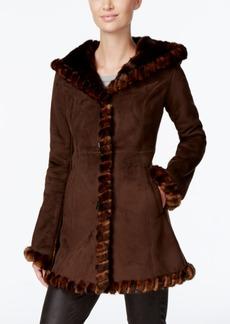 Jones New York Faux-Fur-Trim Faux-Suede Walker Coat