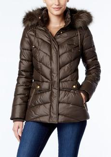 Jones New York Faux-Fur-Trim Hooded Puffer Coat