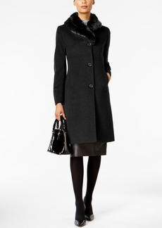 Jones New York Faux-Fur-Trim Maxi Coat